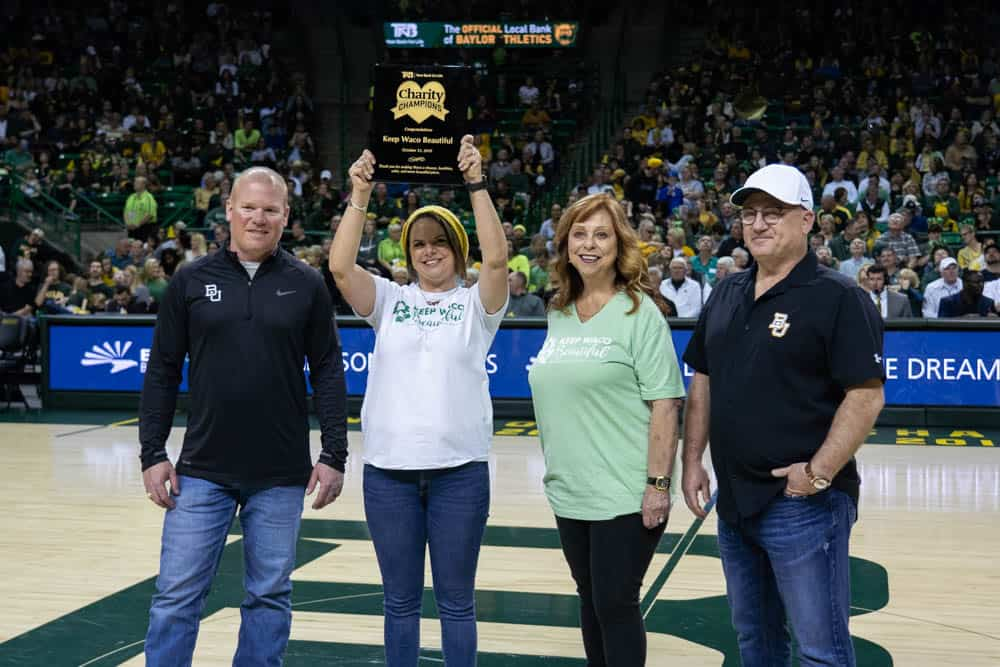 keep waco beautiful recognized at basketball game